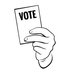 Hand with election card and text vote vector