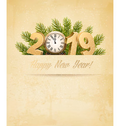 happy new year 2019 background with tree and vector image