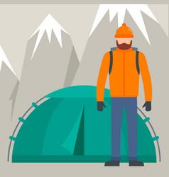 hiker man near tent mountain background flat vector image