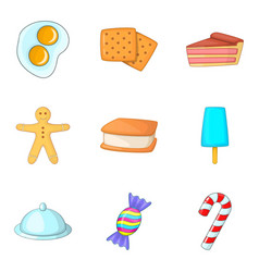 Holiday food icons set cartoon style vector