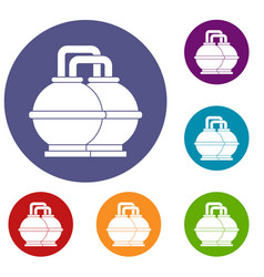 Industrial tanks for petrol and oil icons set vector