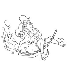 Joyful witch flying on a broomstick vector