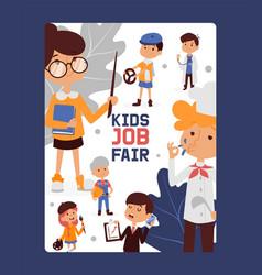 kid job fair banner for school and kindergarten vector image