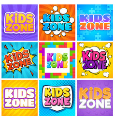 Kids zone kinder playroom banners for design vector