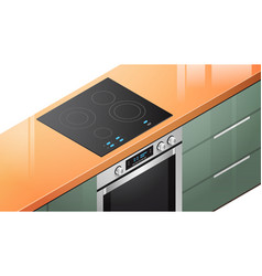 Kitchen induction stove cooker with oven vector
