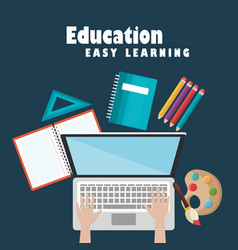 Laptop with education easy e-learning icons vector