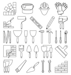 Line art black and white 30 construction elements vector