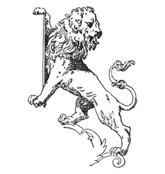 Lion supporting shield is a modern form vector