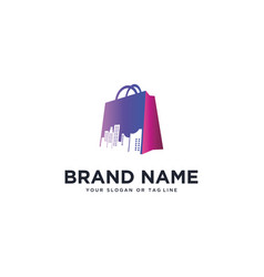 Logo design shopping bags and urban vector