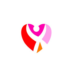 love hearth care logo concept love people logo vector image