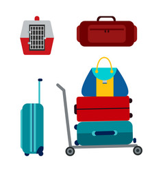 luggage icons collection vector image