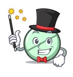Magician drug tablet mascot cartoon vector