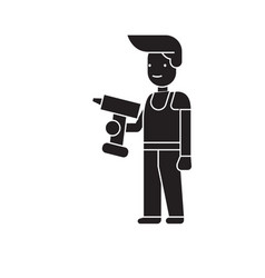 man with a drill black concept icon man vector image