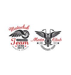 motoclub team premium quality retro logo templates vector image