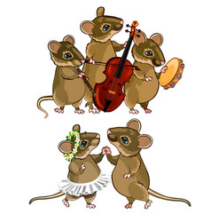 mouse musical orchestra and a dancing couple vector image