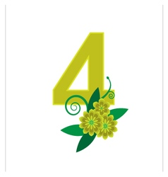 Number four with floral vector image