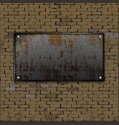 old brick wall rusty metal sheet vector image