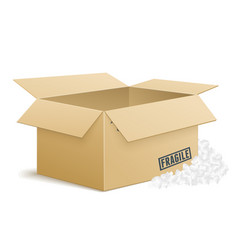 Open cardboard box with foam peanuts vector