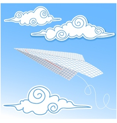 Paper airplane in the sky with paper decorative cl vector image