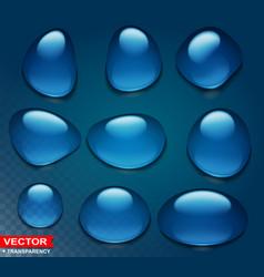 photorealistic cartoon blue big water drops vector image