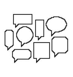 pixel art set speech bubbles vector image