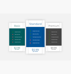 pricing table comparison box for website and app vector image