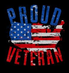 Proud veteran us map vector
