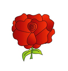 Red rose with green leaves vector image