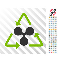 Ripple recycling flat icon with bonus vector