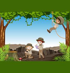 scene with children exploring nature in woods vector image
