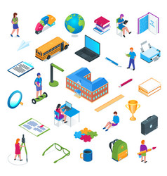 School and education isometric icon set 01 vector