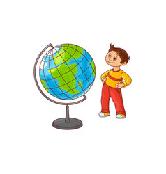 School boy with globe sphere map isolated on white vector