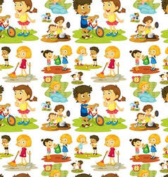 Seamless children playing and doing chores vector