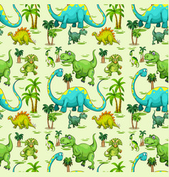 Seamless pattern with various dinosaurs and tree vector