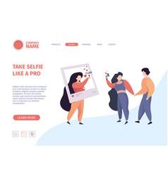 selfie landing page people make photo vector image