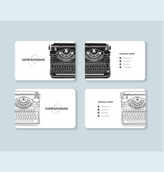 Set business cards with hand drawn vintage vector