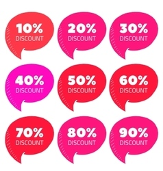 Set of pink percent discount speech bubble sale vector
