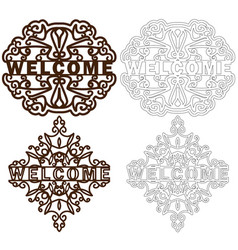 Set of welcome plastic or paper plate template vector