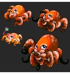 Set orange cute octopuses on a black background vector