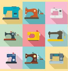 Sew machine icon set flat style vector