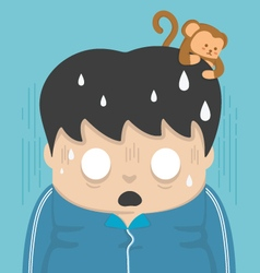 Shock and a monkey on the head vector