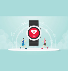 Smart watch apps tracker with hand wrist and vector