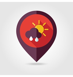 Sun rain cloud flat pin map icon weather vector