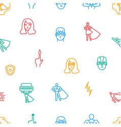 Super hero thin line seamless pattern background vector
