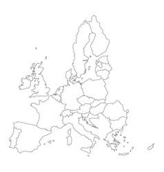 thin black outline map of european union - eu vector image