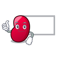 thumbs up with board jelly bean character cartoon vector image