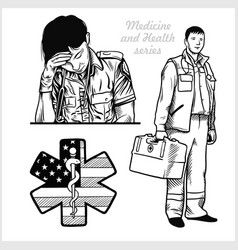 Tired nurse with stethoscope paramedic medical vector