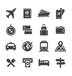 tour and travel icon set vector image