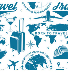 travel seamless pattern or background with design vector image