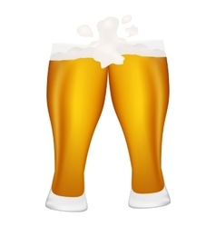 Two glasses of beer with foam flying vector image